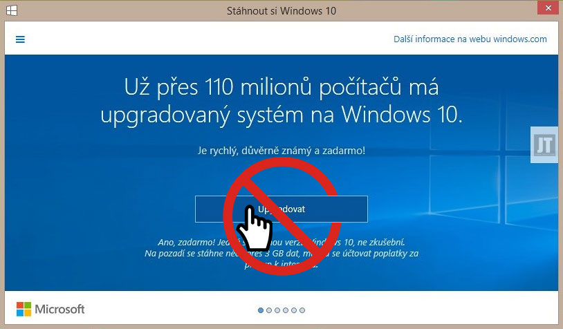 Neupgradovat na Windows 10
